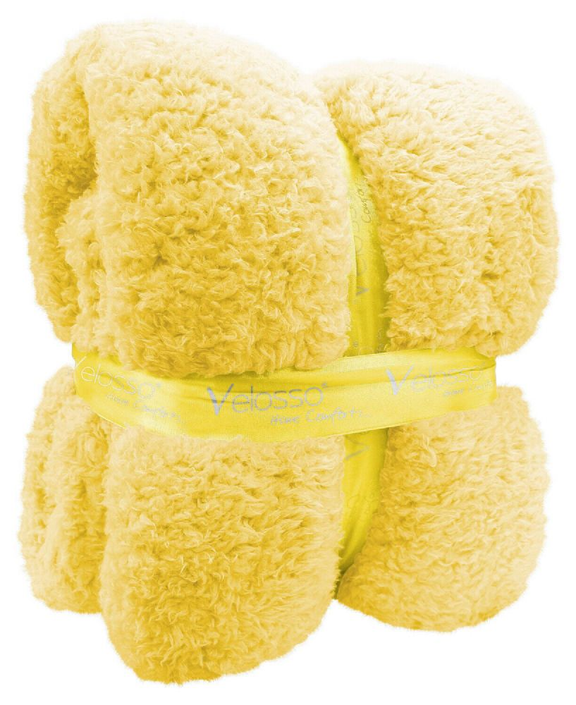 TEDDY BEAR FLEECE SOFT WARM LUXURY THICK CUDDLE THROW PLUSH BLANKET YELLOW COLOUR